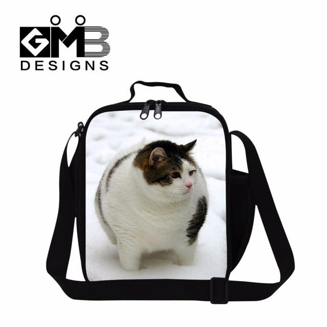 Кошка Обед Сумки для Женщин, Животных Печати Изолированные Lunch Box Сумки для Девочек, Мальчиков Обед Контейнер, плечо Обед сумка для мужчин