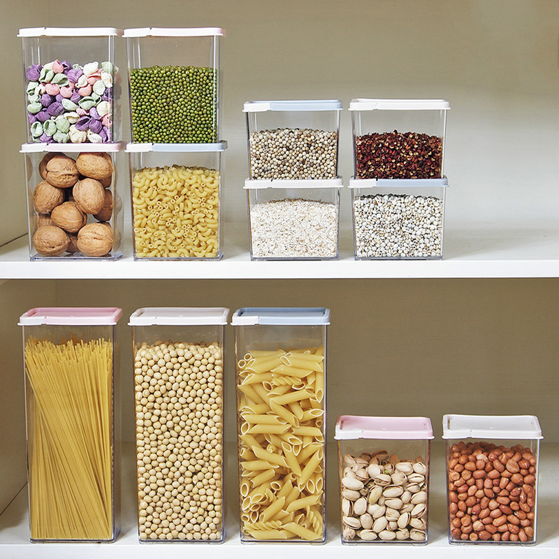 Transparent Large-capacity Storage Tank Household Kitchen Food Storage Box Square Stack Of Grains And Grains Sealed Cans ZP32516