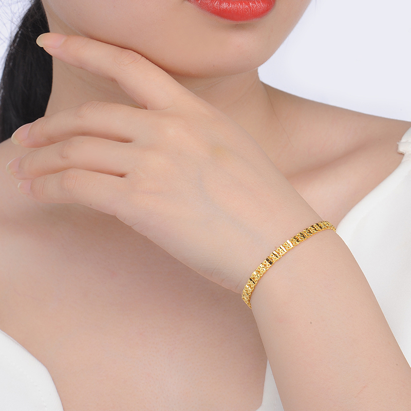 ZSFH 24K Pure Gold Bracelet Real 999 Solid Gold Bangle Fashion Double Row Glossy Trendy Classic Fine Jewelry Hot Sell New 2019