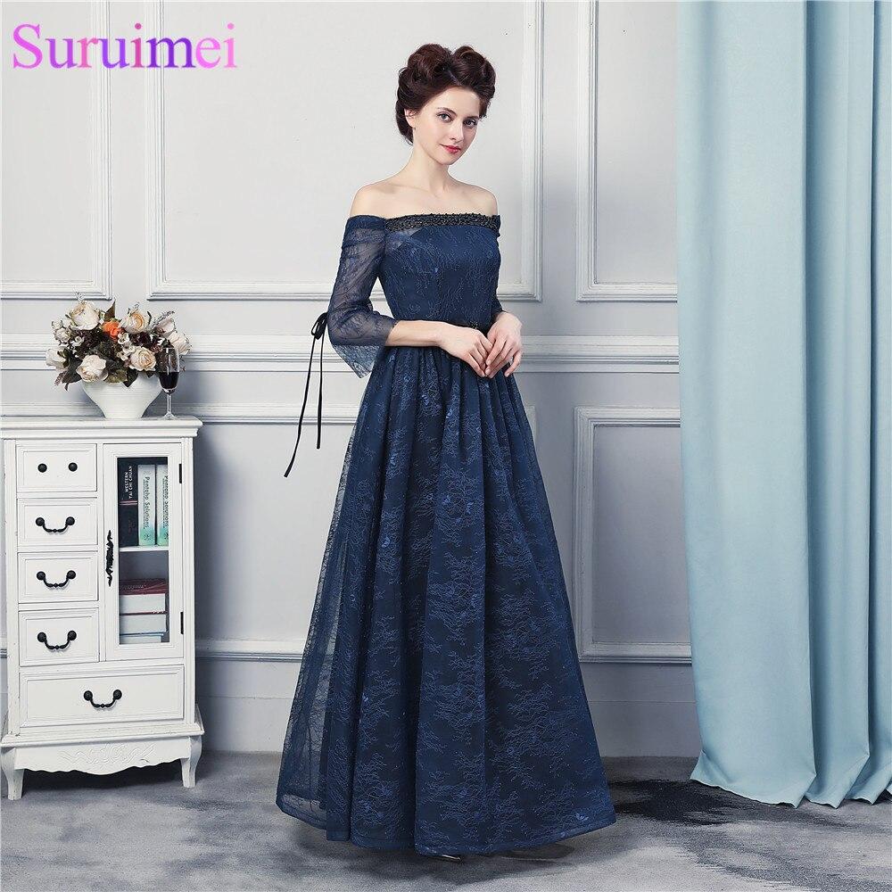 Bretelles bleu marine mère de mariée robe courte Sleves hors de l'épaule à lacets robe d'événement de mariage
