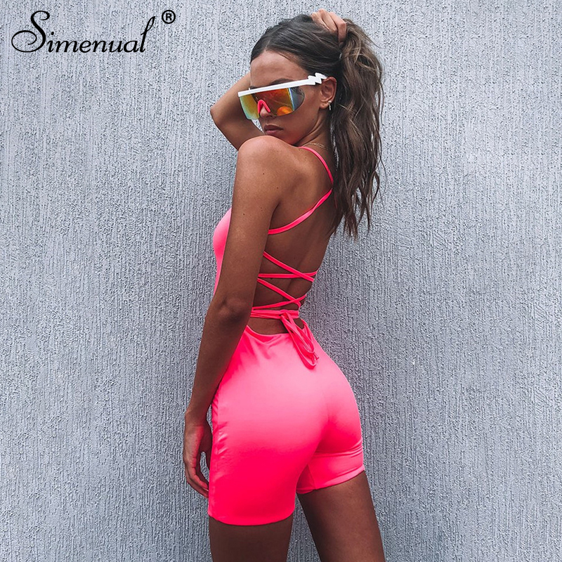 Simenual Casual Criss Backless Skinny   Jumpsuit   Women Solid Pink Sexy Rompers Strap Basic Hot Bandage Biker Playsuits Sleeveless