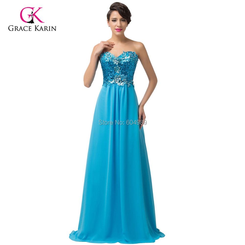 Shinny Sky Blue/Apricot Flower Sequins Formal Evening Dress Long ...