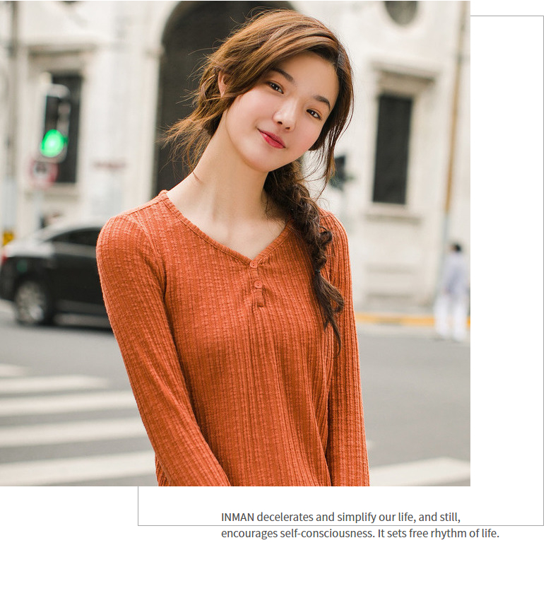 INMAN 19 Autumn Winter Korean Style Solid Color V Neck Striped Tee Shirt Femme Fashion Women Ladies Long Sleeve Plain T Shirt 14