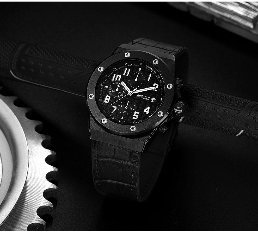 Montres à quartz Chronographe lumineux Bracelet cuir décontracté
