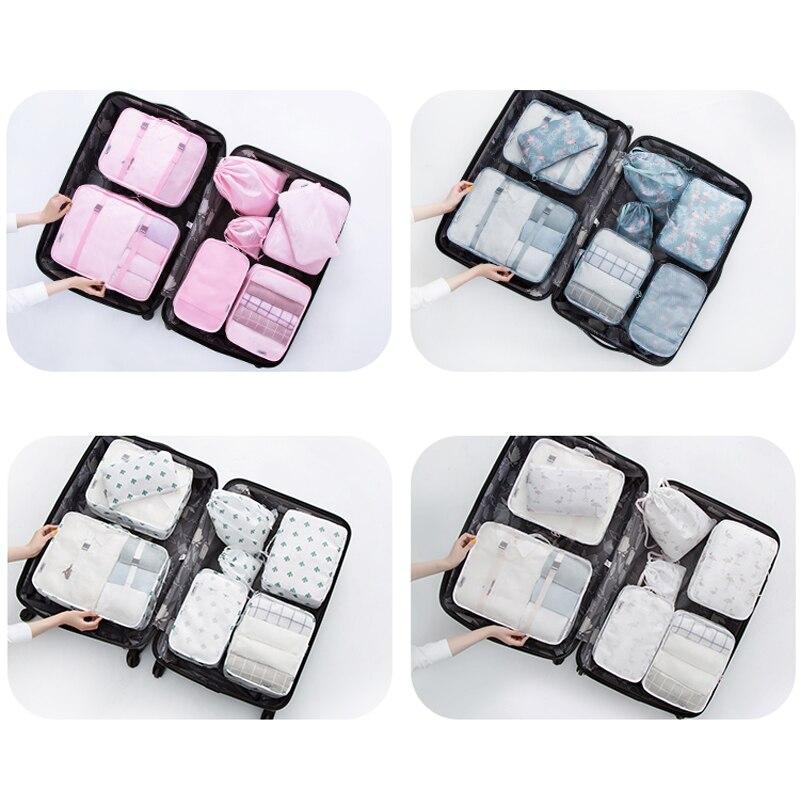 8PCS/Set Cartoon Pattern Quality Travel Accessories Kit Mesh Storage Luggage Organizer Packing Cube For Clothing Underwear Bag