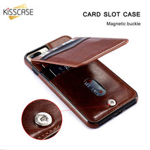 KISSCASE Vertical Flip Card Holder Leather Case For iPhone 6 6s 7 Plus Retro Cover Phone Bag Pouch