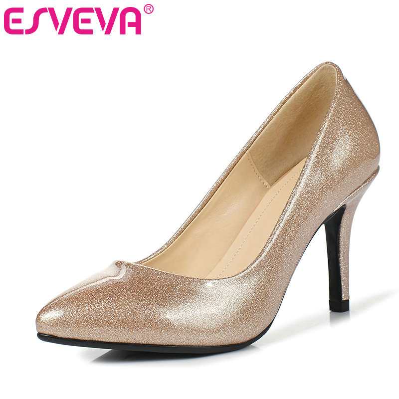 ESVEVA 2017 Women Pumps Soft PU Thin High Heel Party /dating Shoes Pointed Toe Spring Autumn Shoe Wedding Woman Shoes Size 34-39 esveva sexy flock thin high heel women pumps summer party pointed toe woman pumps ankle strap ladies wedding shoe size 34 43