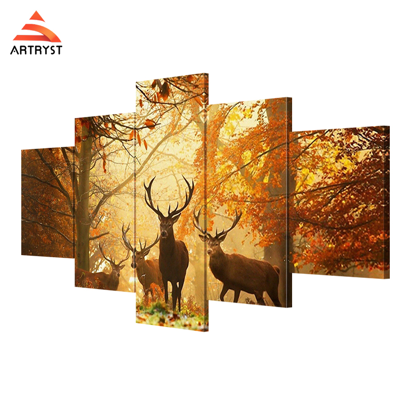 Artryst 5 Panel Wall Art, Deer Painting Pictures Print On Canvas,The ...