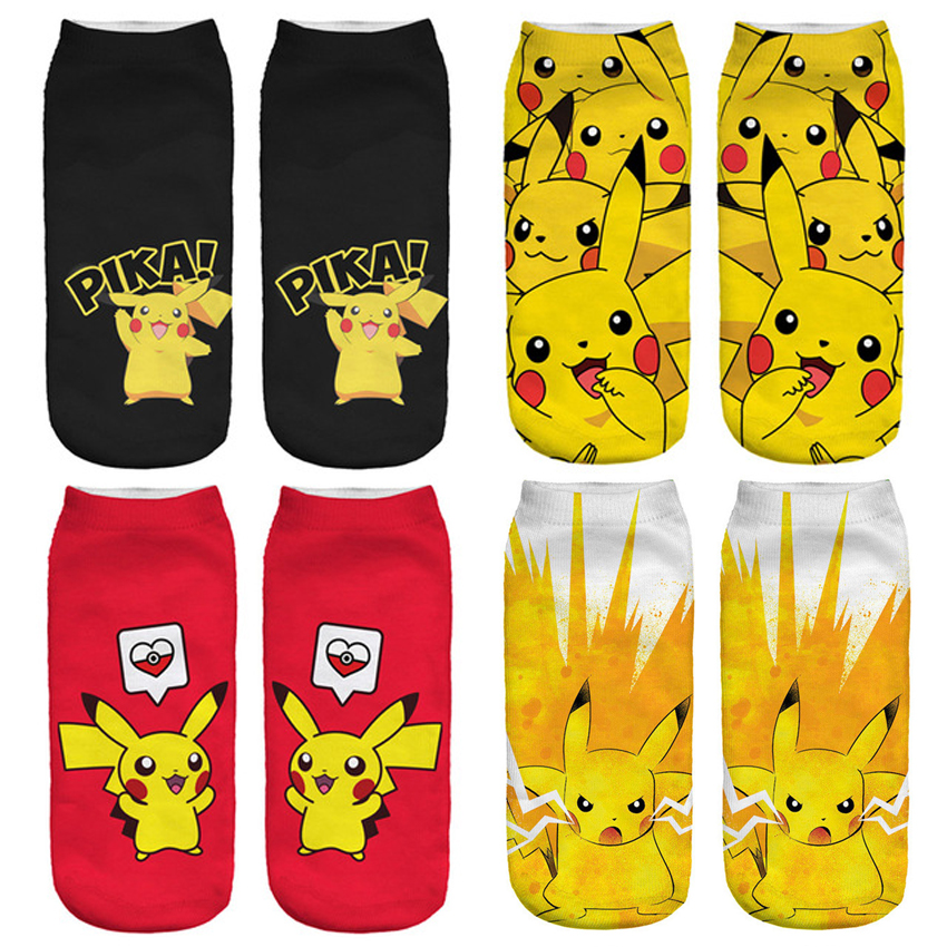 2017 New Arrival Kawaii Harajuku Pokemon Pikachu Socks 3D Printed Cartoon Women's Low Cut Ankle Socks Novelty Casual Socks Meias