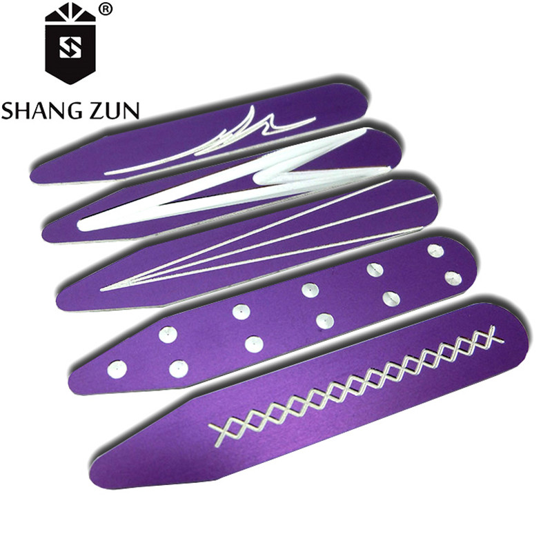 SHANH ZUN 10 PCS Personalized Metal Collar Stays Aluminum Purple Engraved Collar Stiffeners Business Collar Inserts With Box
