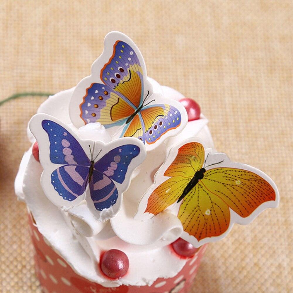50Pcs/set Cupcake Toppers PVC Butterfly Wedding Cake Topper Wedding ...