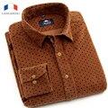 LANGMENG Brand 100% Cotton Dress Shirt men New Polka Dot Long Sleeve Mens Corduroy casual Shirts Slim Fit 2016 New Arrival