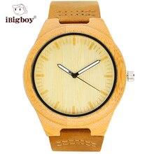 IBigboy Marca Relojes De Madera De Bambú Exquisita Luminoso Reloj de pulsera de Cuarzo Analógico Correa de Cuero Adulto IB-1600Ca