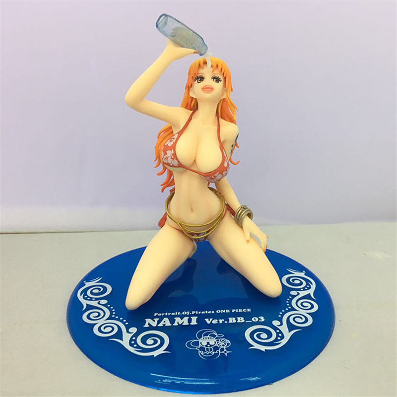 Japan One Piece Anime Nami Sexy Swimsuit Drinking Ver. Action Figure 15CM PVC Model Toy With Box Collection Toys gift Doll 28cm with box anime hot game sona buvelle sexy 28cm 11 pvc action figure toy collection model toy