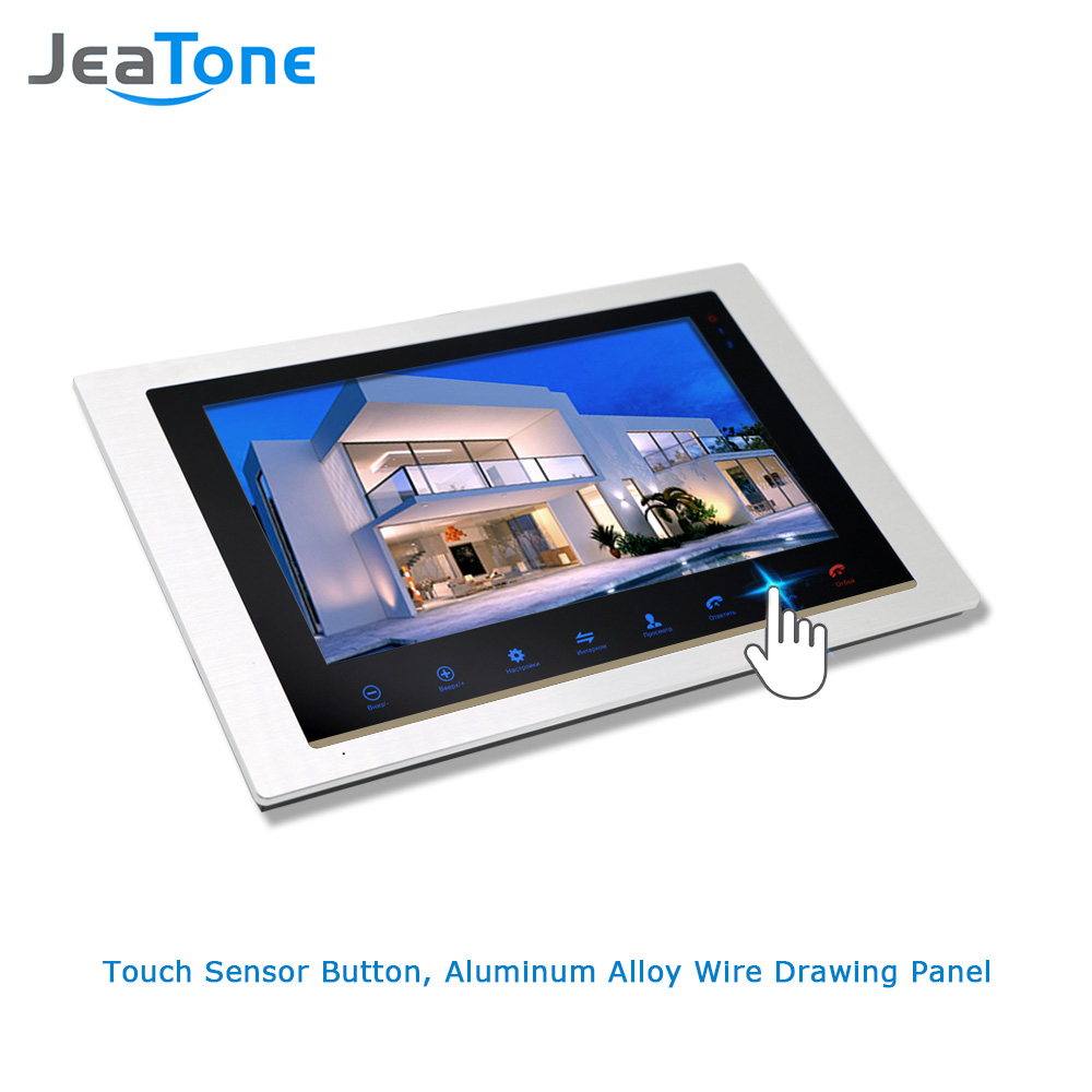 """Image 3 - JeaTone 10"""" 4 wired Door Phone Video Intercom Video doorbell monitor Intercom + Extra 1200TVL Security Camera Waterproof System-in Video Intercom from Security & Protection"""
