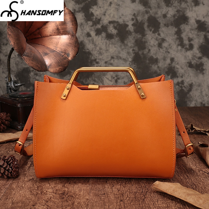 Women handmade shoulder head layer cowhide female handbag vegetable tanned Genuine leather Messenger minimalist crossbody bags women new handbags retro genuine leather handbag shoulder bag head layer cowhide messenger bags female pure hand made bags