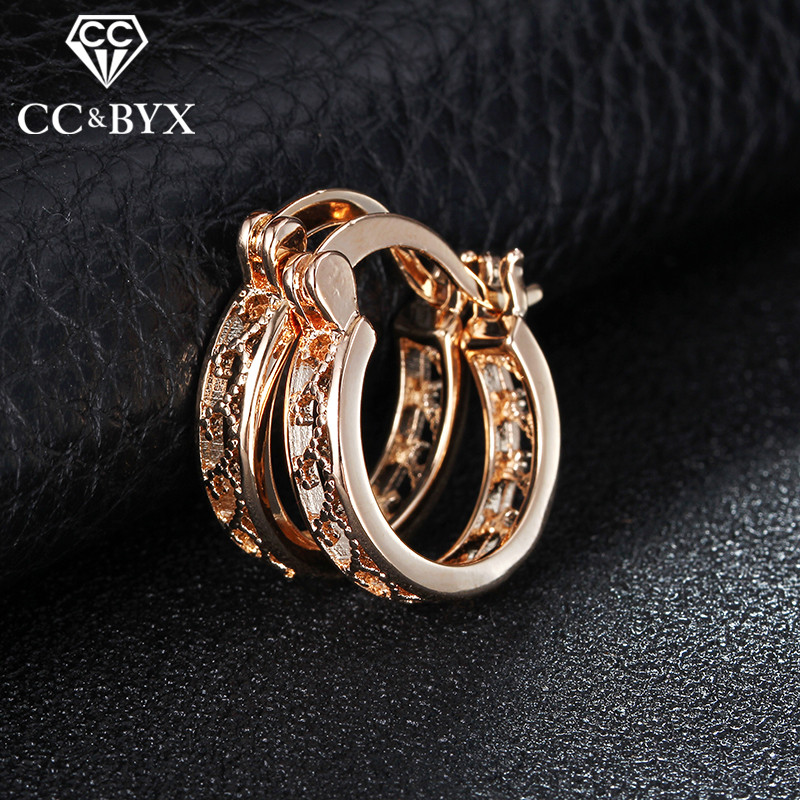 2017 hollow small hoop earrings for women rose gold color earrings made with austrian crystal boucle d'oreille femme E029
