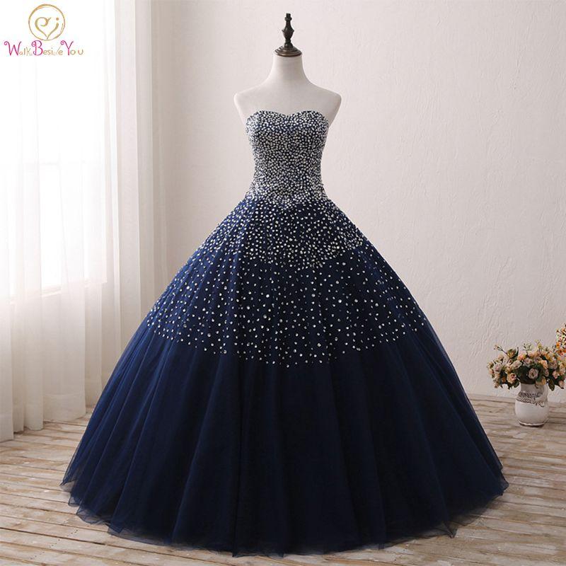 Bleu marine Quinceanera robes Stock robe de bal perlée chérie Abiti Da Quinceanera Vestido Debutante 15 Anos livraison gratuite