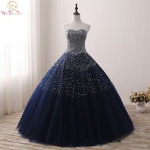 Navy Blue Quinceanera Dresses Stock Ball Gown Beaded Sweetheart Abiti Da Vestido Debutante 15 Anos Free Shipping