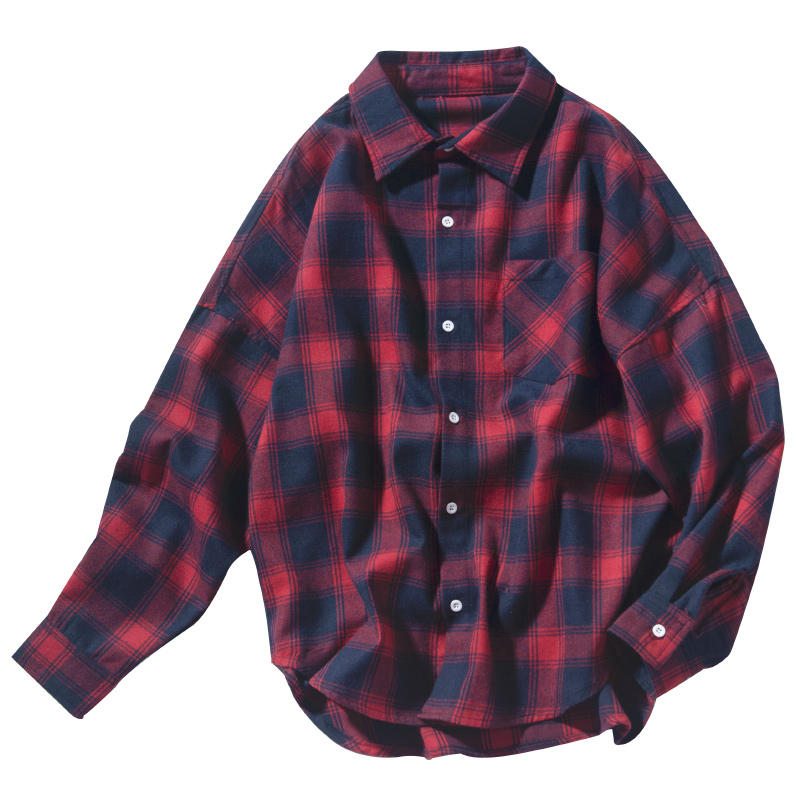 Yellow Red Long-sleeved Mens Shirt Couple Casual Fashion Youth Cotton Check Long Sleeve Fashion Mens Loose Student KoreanShirts
