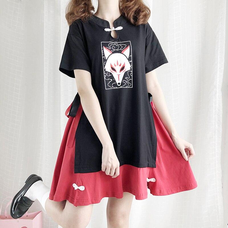 Chinese Style Vintage Fox Mask Pattern Printed T shirt Dress Japanese Harajuku Women Gothic Short Sleeve Ribbon Patchwork Dress