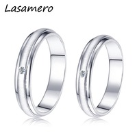LASAMERO Ring For Men And Women 0.018ct Round Cut 18k White Gold Natural Diamond Couple Ring Comfort Fit Engagement Wedding Ring