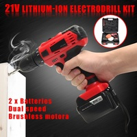 Doersupp 21V Double Speed Lithium ion Electrodrill Kit Electric Screw Driver Portable Electrodrill DIY Power Drilling Tools