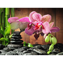 Water Stone Orchid Diy Diamond Painting Flowers Cross-Stitch Embroidery Resin Square Drill Full Rhinestone Wedding Decoration