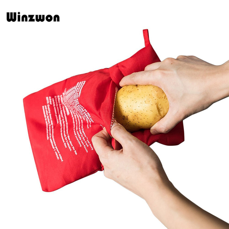 Kitchen Gadgets Cooker-Bag Microwave Baking-Tool Rice-Pocket Easy 1pcs Red Washable