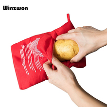 1Pcs Rood Wasbare Cooker Bag Magnetron Bakken Aardappelen Zak Rijst Pocket Koken Gereedschap Gemakkelijk Om Te Koken Keuken Gadgets Bakken tool