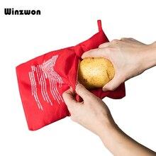 Bolsa para hornear patatas en el microondas, utensilios de cocina con bolsillo para el arroz, cocina fácil, lavable, color rojo, 1 unidad