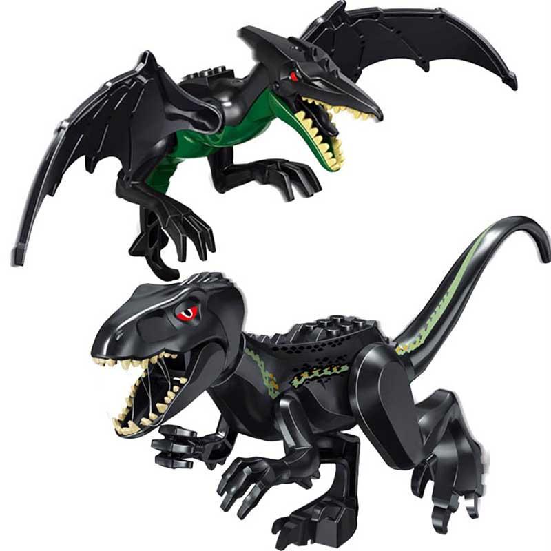 Model flying pterosaurs velociraptor tyrannical dragon Jurassic building blocks toys for children anime figure playmobil DIY