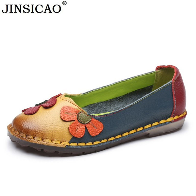 Handmade Shoes Woman Fashion Flower Women Flats Genuine Leather Soft Sole Cozy Loafers Mixed Colors Flat
