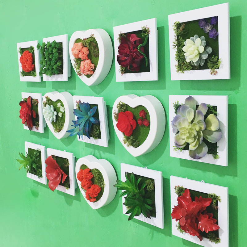 Heart artificial succulent plants imitation fake flowers for Cadre floral mural