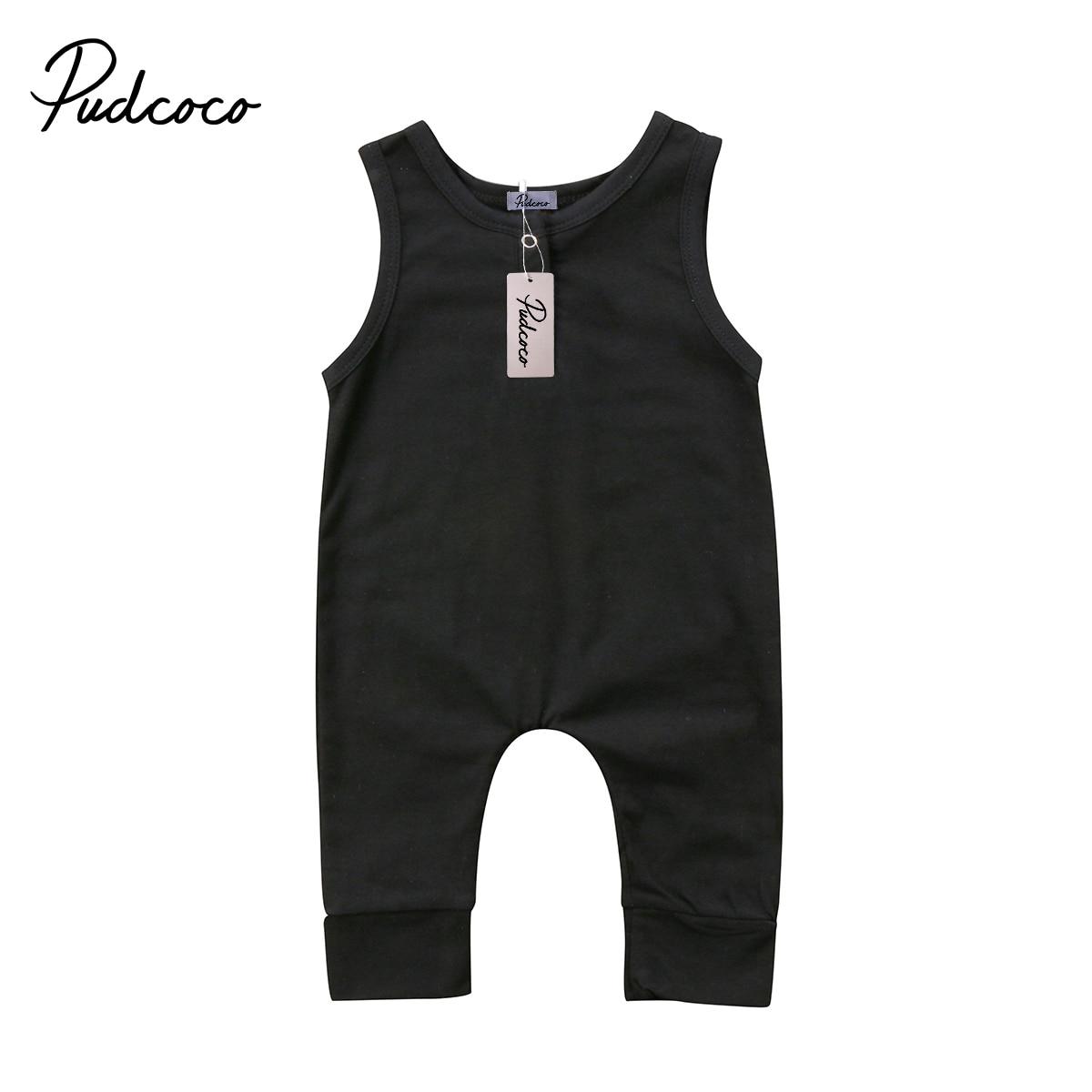 2018 Brand New Appena Nato Del Bambino Neonati Bambini Delle Neonate Ragazzi Pagliaccetto Sleeveless Della Tuta Harem Pants Vestiti Solido Outfits 0-18 M