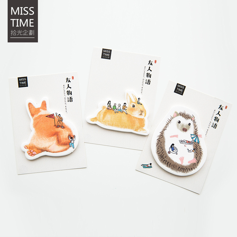 30 Sheets/lot Creative Rabbit Cat Hedgehog Notebook Memo Pad Self-Adhesive Sticky Notes Office School Supplies Memo Pad