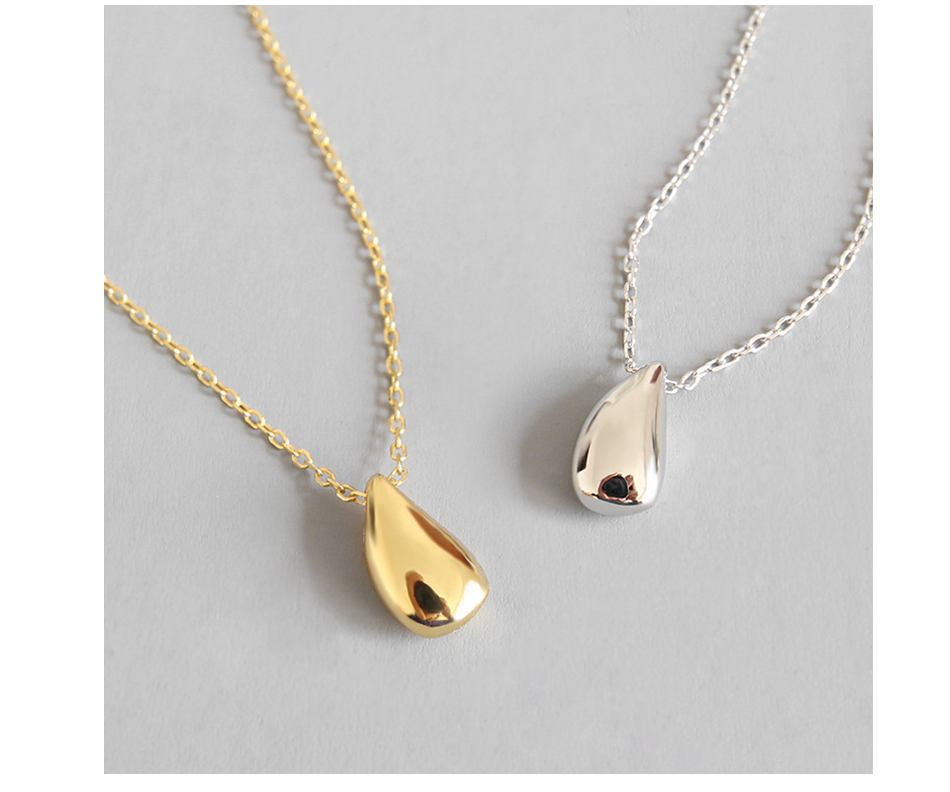 LicLiz 2019 New 925 Sterling Silver Water Drop Pendant Necklaces for Women 18K Gold White Gold Link Chains Jewelry Kolye LN0435