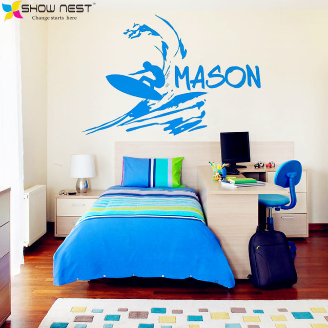 Vinyl Surfer Wall Decal Surfing Decals Boys Custom Name Decal Beach