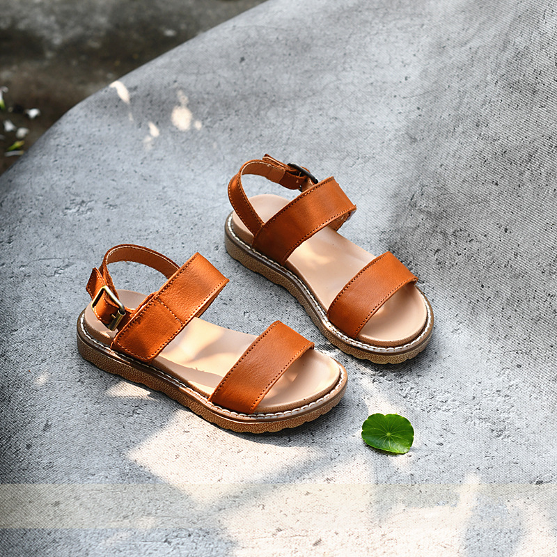 Genuine Leather Children's Sandals Fashion Light Bottom Princess Shoes Party Show Girls Sandals Size 26-36