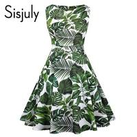 Sisjuly Vintage Dress Women Print Plant Sleeveless O Neck Green Dress Elegant Party Retro A Line