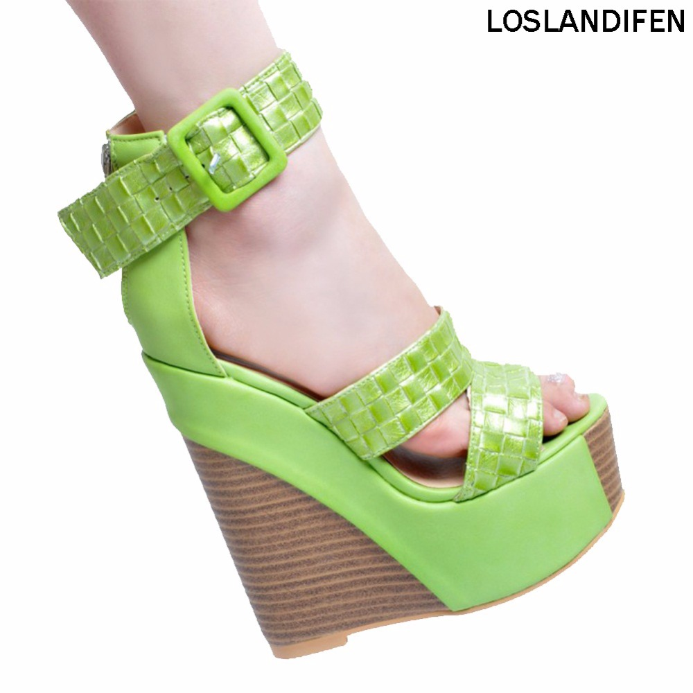Womens Fashion Handmade 15cm Peep-toe D'orsay Style Wadge High Heel Buckle Strap Party Sandals Shoes XD107-01 pu line style buckle high heel womens glitter sandals
