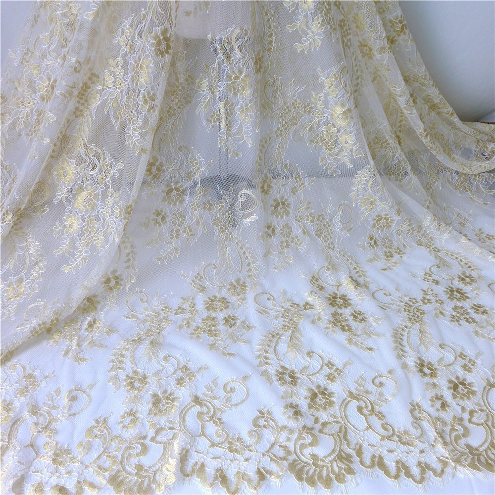 French Eyelash Lace Fabric In Gold 3 Meters Embroidery Flower High Quality Tulle Material Handmade DIY