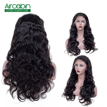 """Body Wave Lace Front Wig AirCabin Remy Hair Wigs With Baby Hair Natural Black 12""""-24"""" Indian Lace Front Human Hair Wigs"""