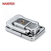 NAIERDI J402 Box Hasp Cabinet Fastener Lock With Key Spring Latch Catch Toggle Iron Locks For Drawer Door Furniture Hardware