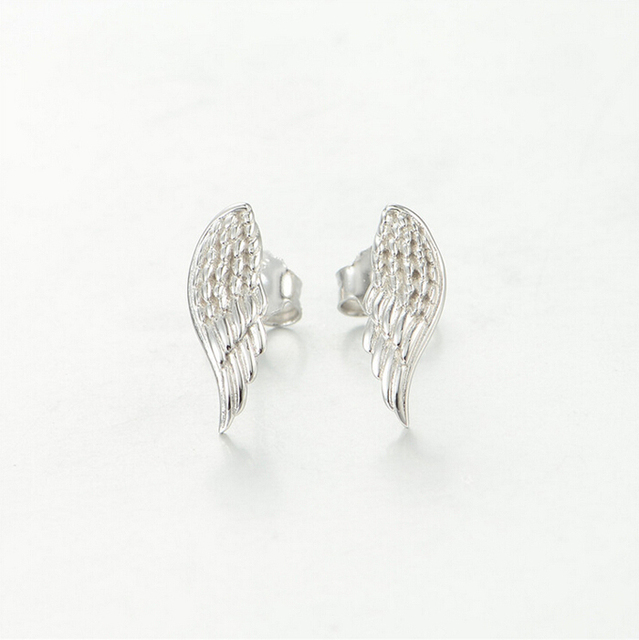 0c2e21db0 Angel wings Feathers 925 Sterling Silver Stud Earrings summer jewelry Woman  Jewelry magnetic earrings for women ER001
