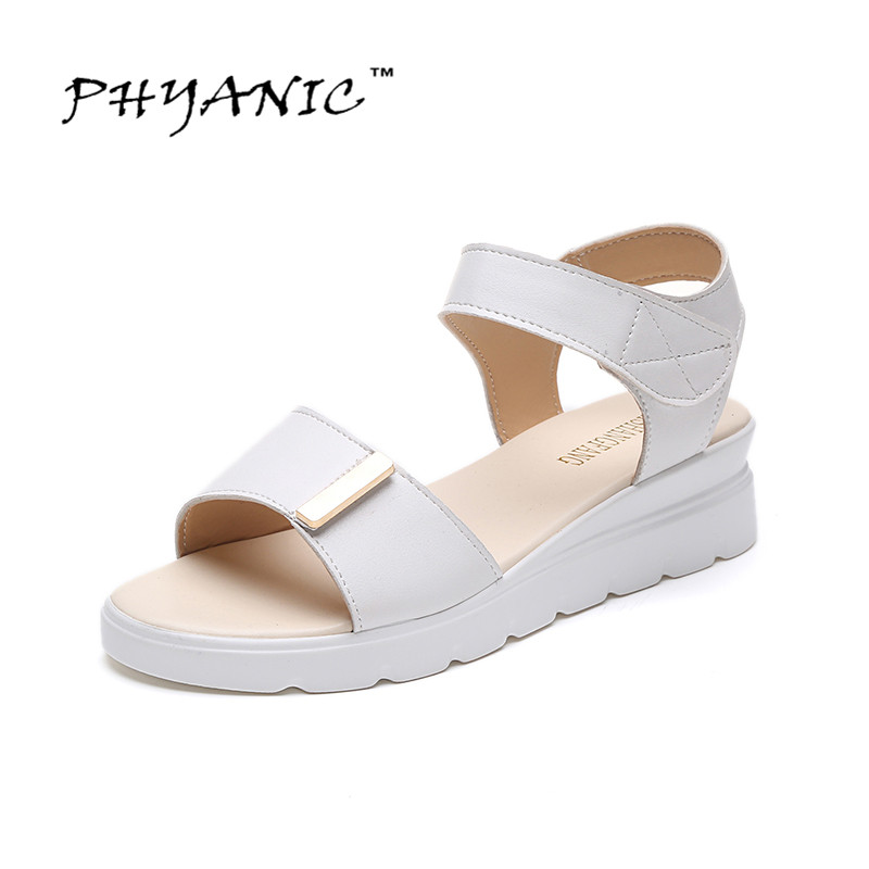 PHYANIC 2017 Fashion Women PU Leatehr Summer Shoes Woman Ankle Strap Open Toe Wedge Heel Platform Sandals Ladies Footwear ankle strap wedge heel shoes for women comfort open toe shoes girls sandals 2016 new summer
