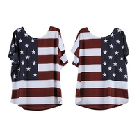 New Arrival Summer Printed American Flag Women T-shirt Casual Loose Female Short Sleeve O-neck Tees Tops Plus Size Clothes rorh
