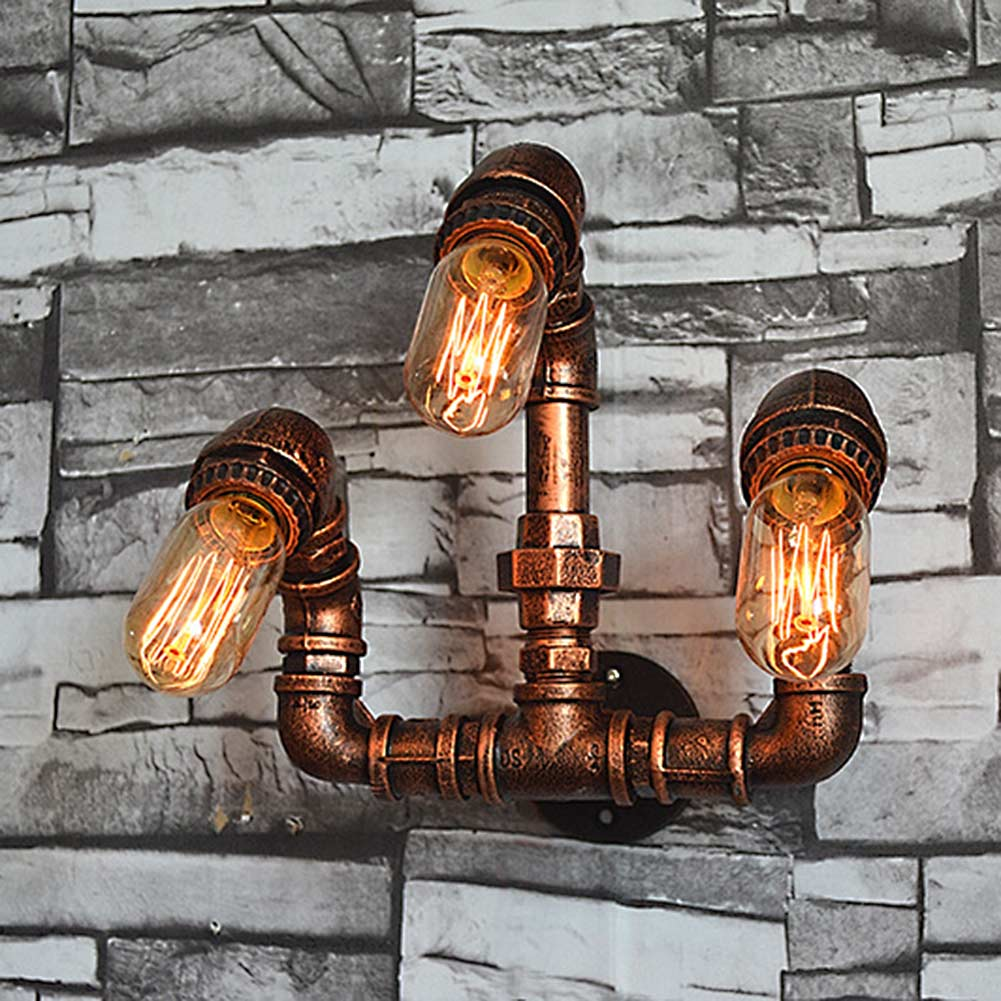 Nordic Industrial Style 3 Heads Metal Water Pipe Wall Light American Country Loft Wall Lamp E27 Edison Vintage Bar Cafe Lustre american country industrial style wall lights loft 3 heads water pipe wall sconce vintage bronze wall lamp iron art lustre