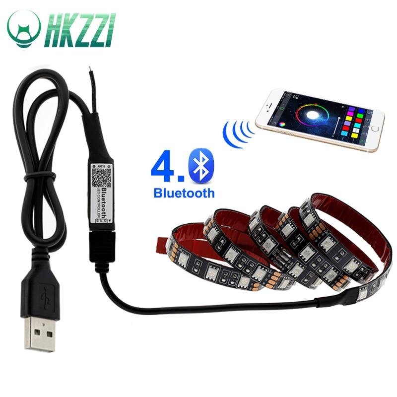 HKKZI USB LED Strip Light 5V 5050 RGB Waterproof 0.5M-1M-2M-3M-4M-5M Bluetooth Wifi Led Strip Lamp Tape TV Backlight Controller