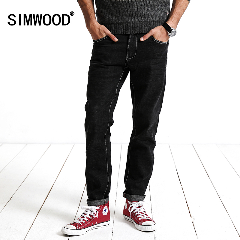 SIMWOOD 2017 New  Jeans Men Autumn Winter Fashion black  Slim Fit Trousers Denim Pants Brand clothing  High Quality SJ6072 17 shark summer new italy classic blue denim pants men slim fit brand trousers male high quality cotton fashion jeans homme 3366